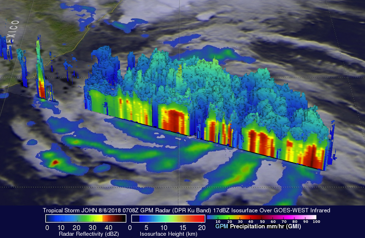 GPM Views Tropical Storm John