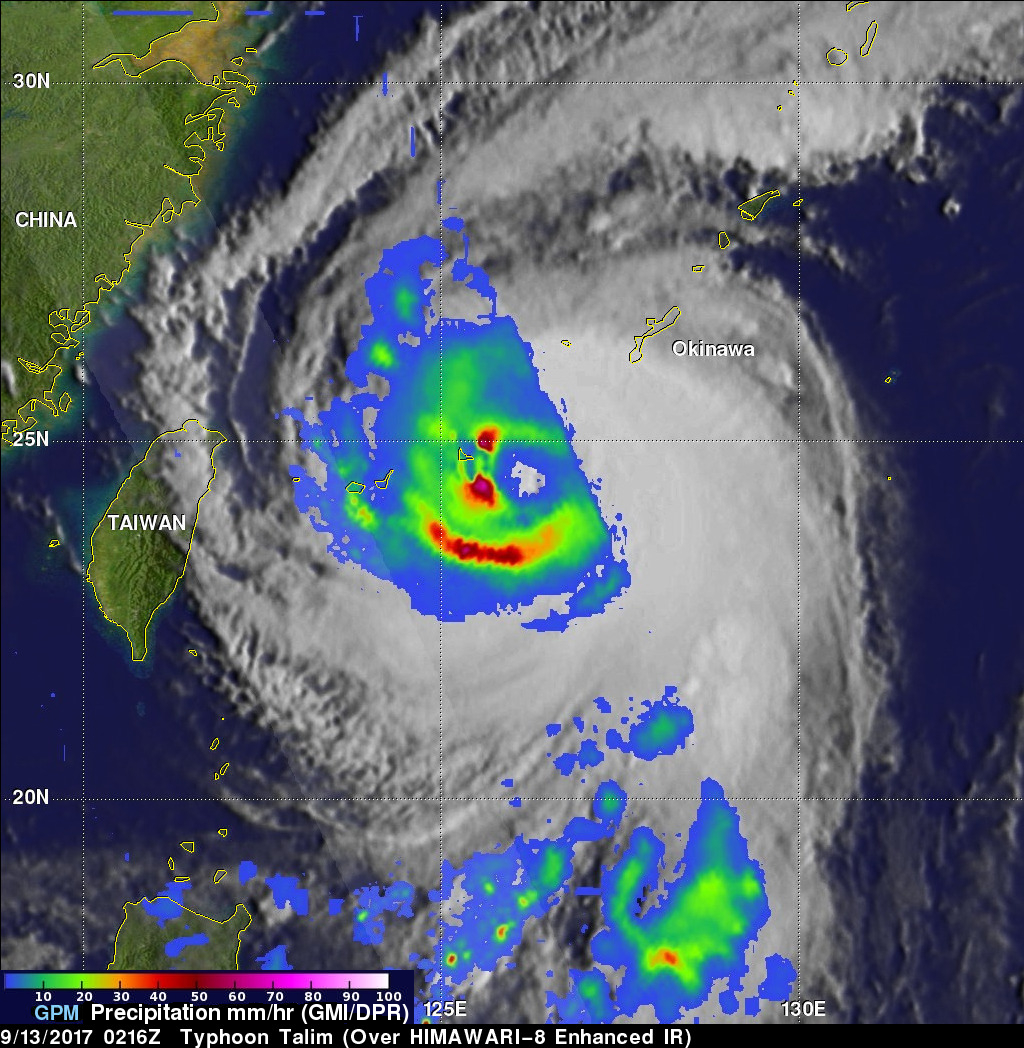 GPM Sees Typhoon Talim Threatening Islands Of Japan