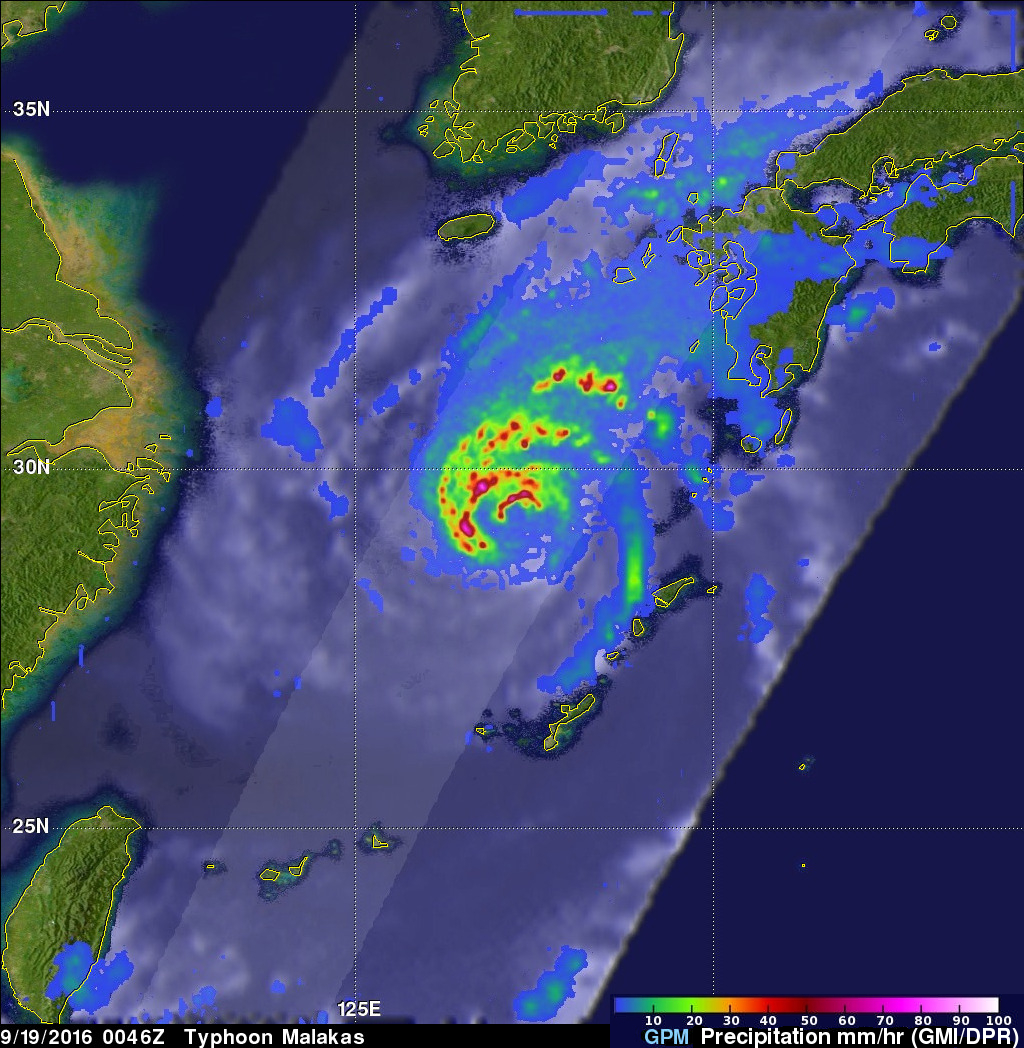 GPM Sees Typhoon Malakas Starting To Batter Japan