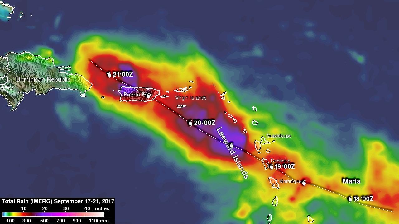 Hurricane Maria's Torrential Rainfall Measured By IMERG
