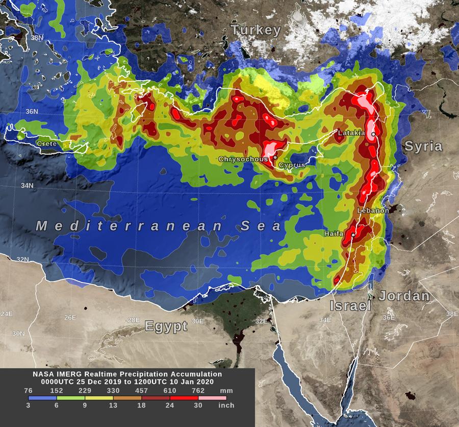 eastern Mediterranean flooding in early 2020