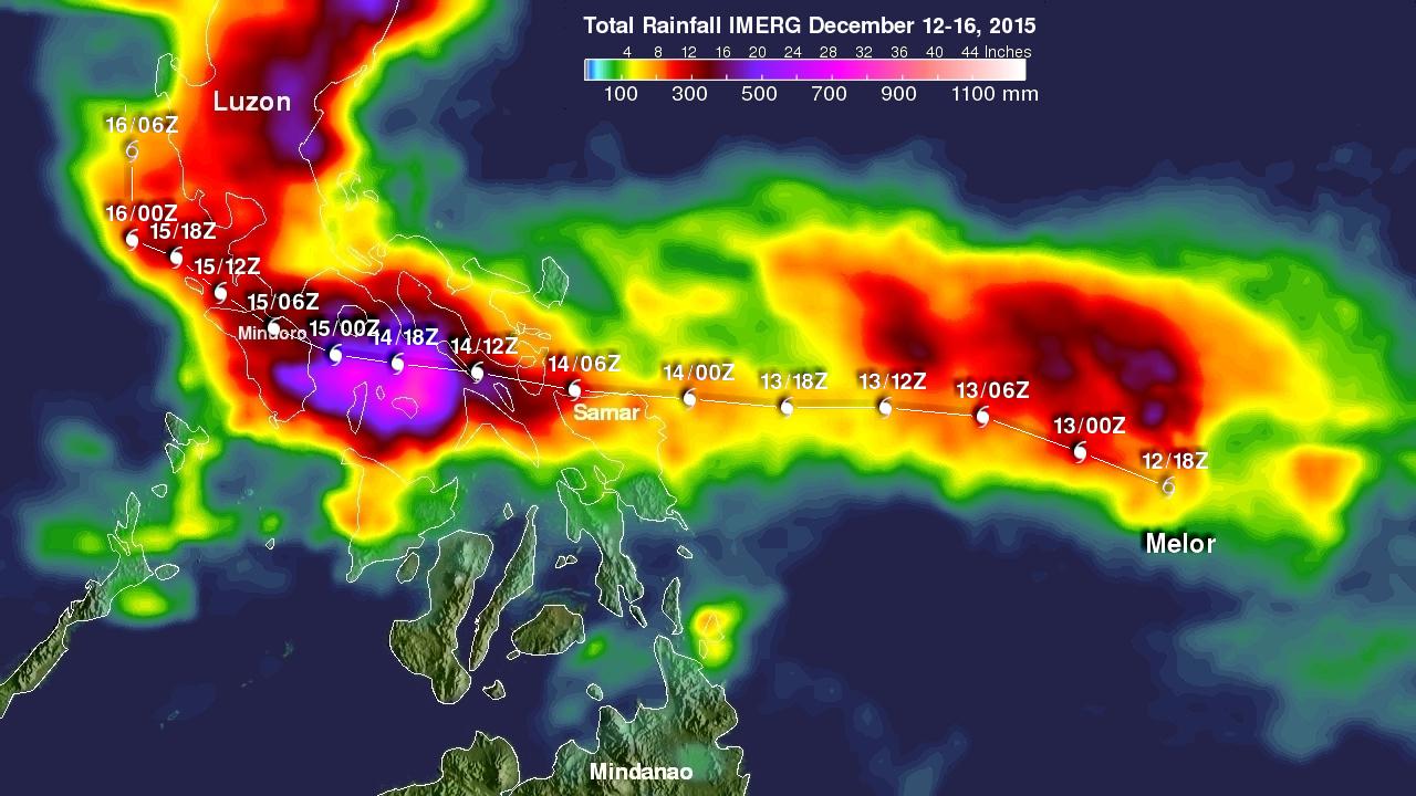 Typhoon Melor Rainfall Measured By IMERG