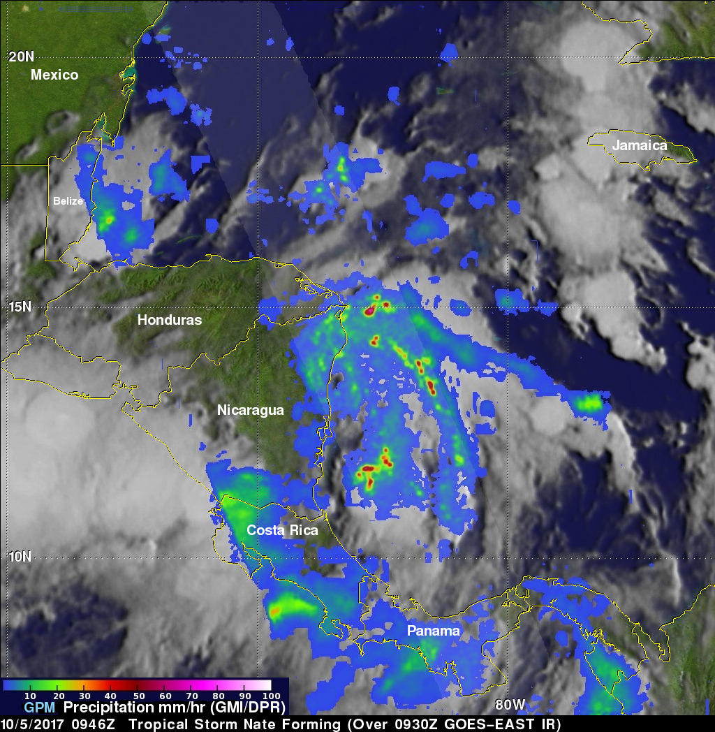 GPM Examines Forming Tropical Storm Nate (TD16)