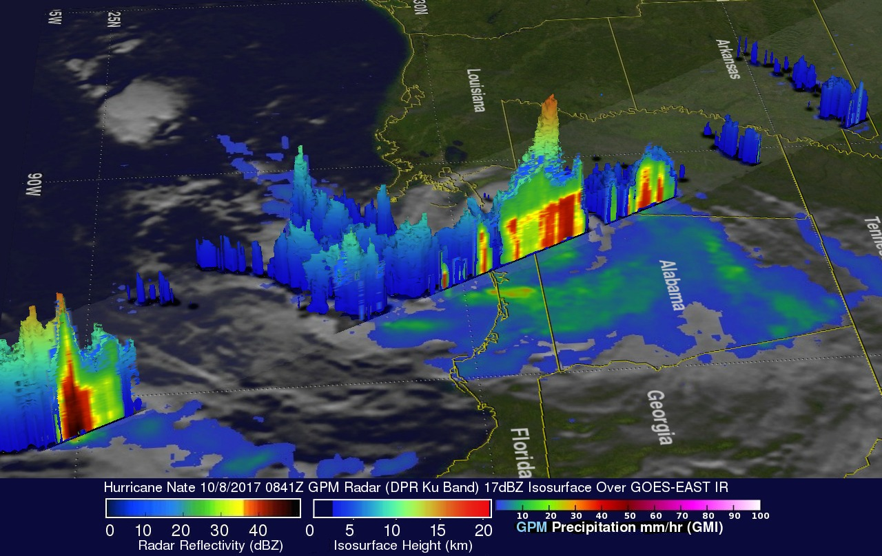 GPM Sees Powerful Thunderstorms In Landfalling Hurricane Nate