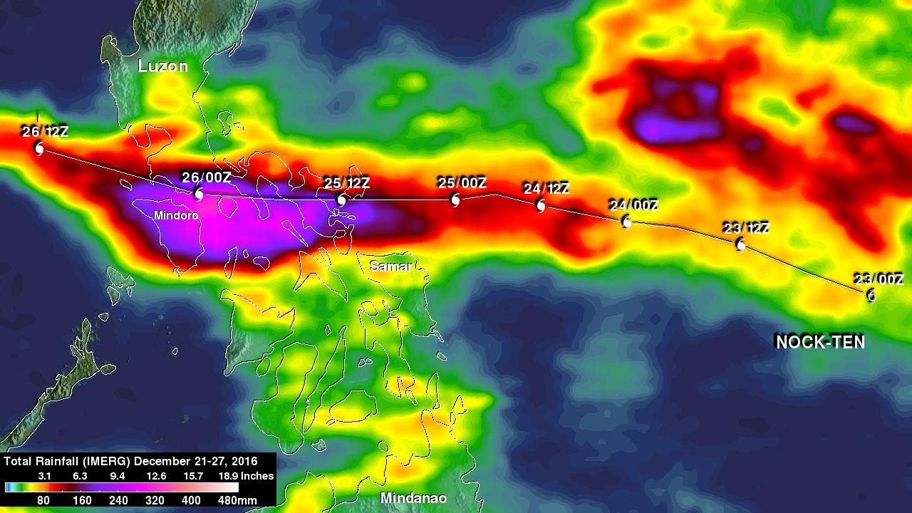 Typhoon Nock-ten's Rainfall Measured By IMERG