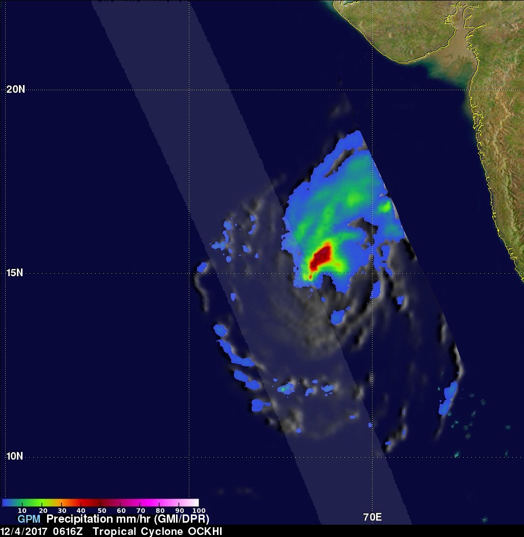 Tropical Cyclone Ockhi's Rainfall Examined By GPM