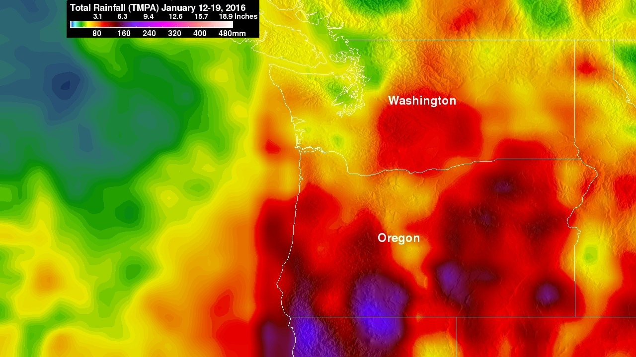 Rainy Weather Over Pacific Northwest Measured From Space