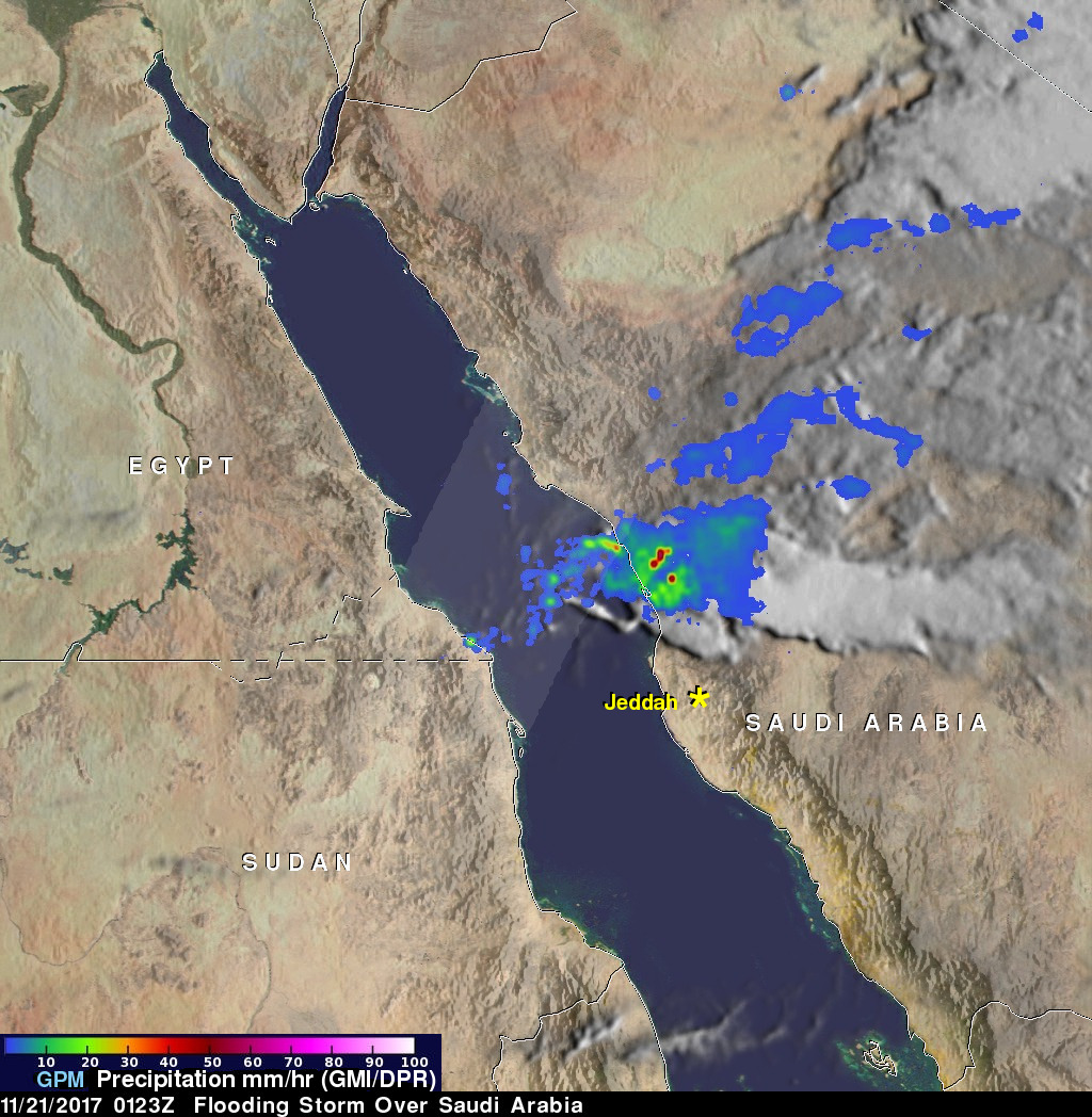 GPM Views Severe Rain Storms Over Western Saudi Arabia
