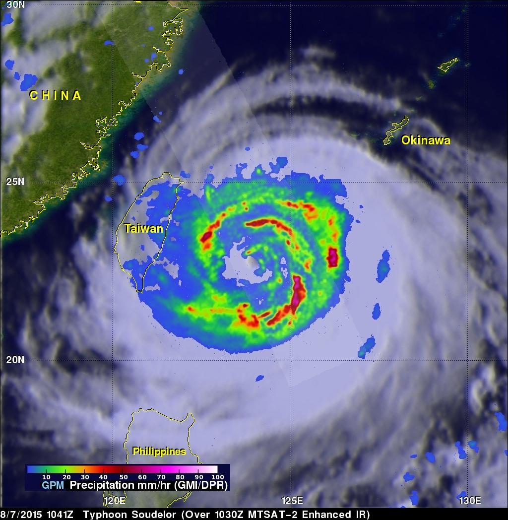 GPM Sees Typhoon Soudelor On Taiwan's Doorstep