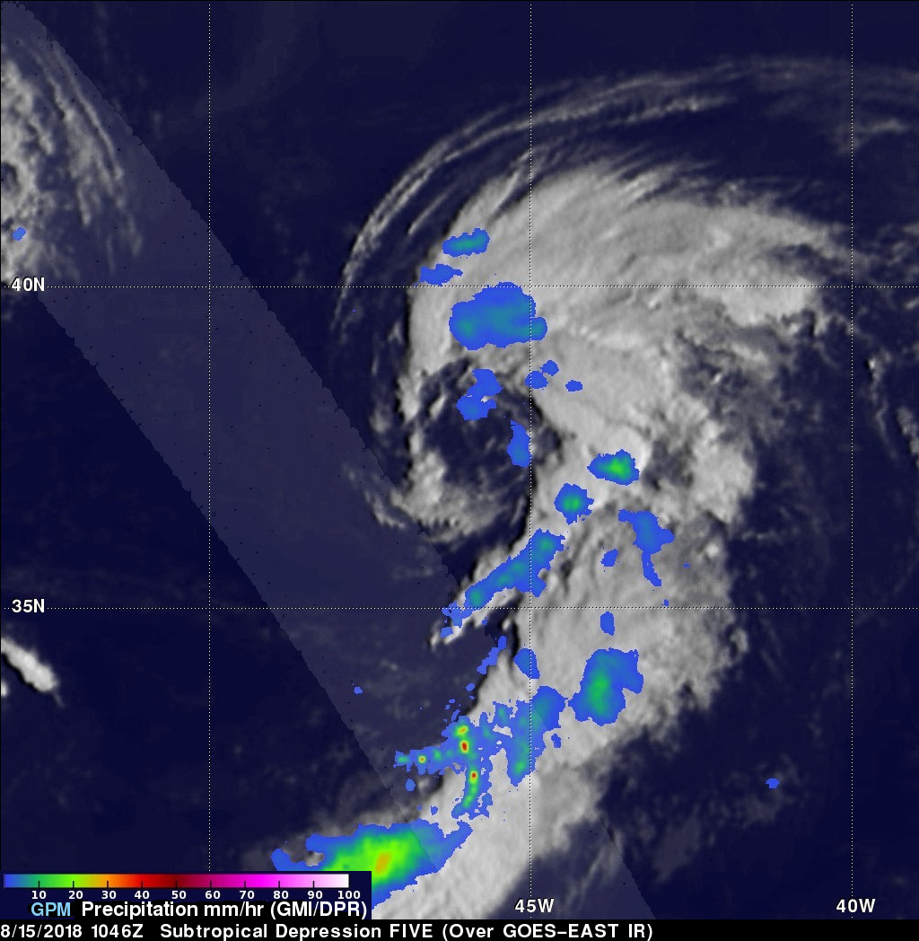 Subtropical Depression FIVE Observed By GPM