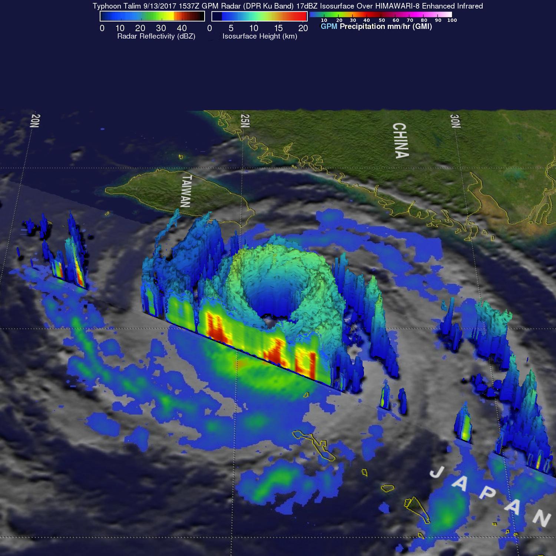 GPM Examines Typhoon Talim's Large Eye