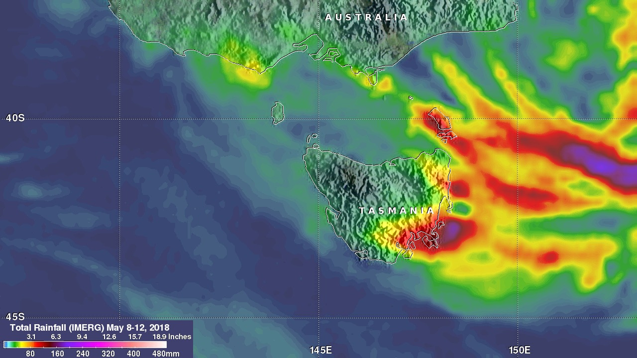 Tasmania's Flooding Rainfall Measured With NASA's IMERG