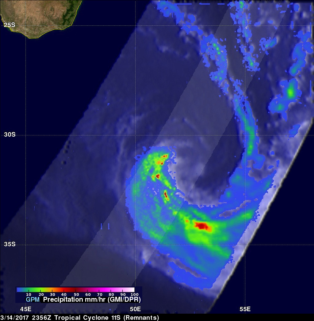 Tropical Cyclone's Remnants Examined By GPM