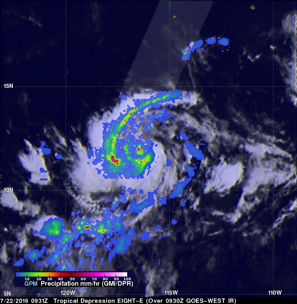 GPM Observes Newly Formed Tropical Depression Eight-E
