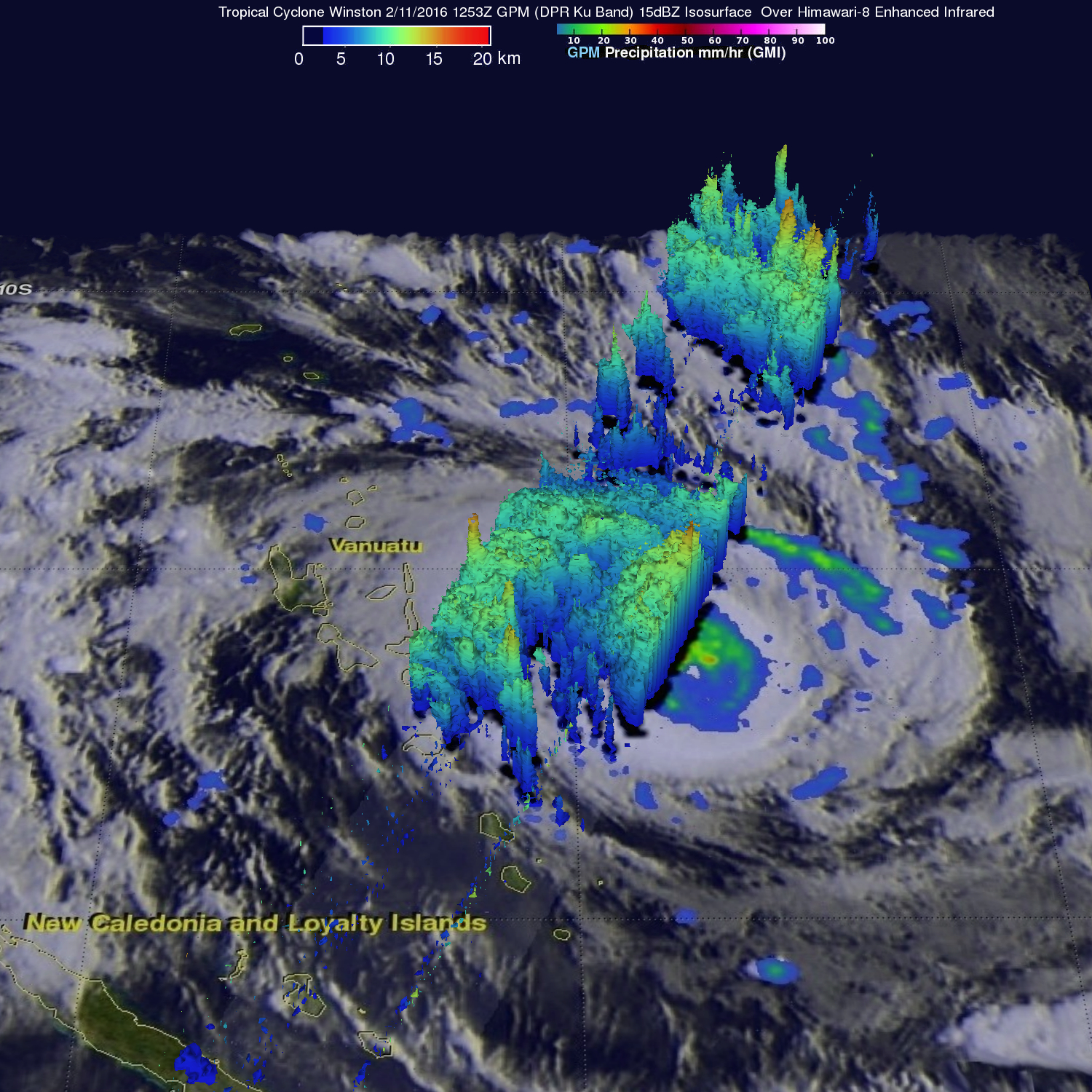 Intensifying South Pacific Tropical Cyclone Winston Viewed By GPM