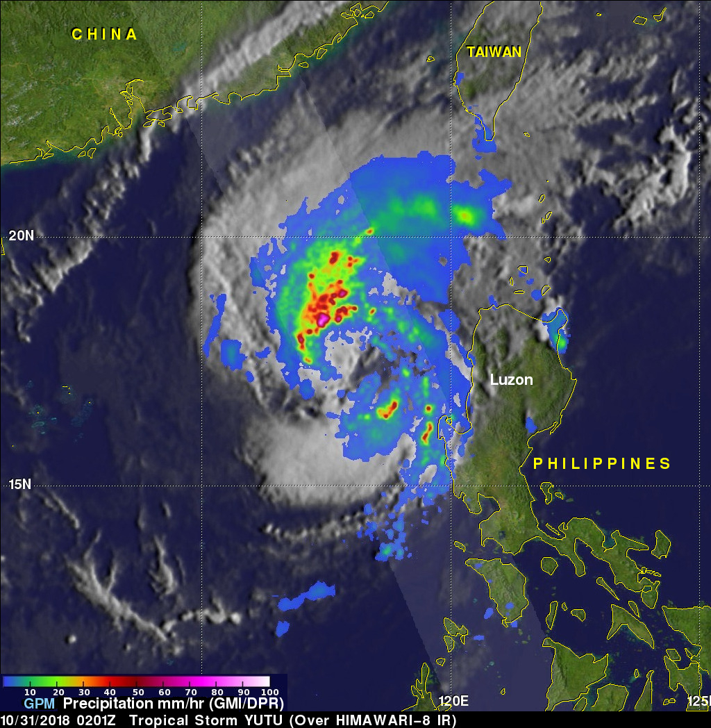 GPM Examines Weaker Tropical Storm Yutu in the South China Sea