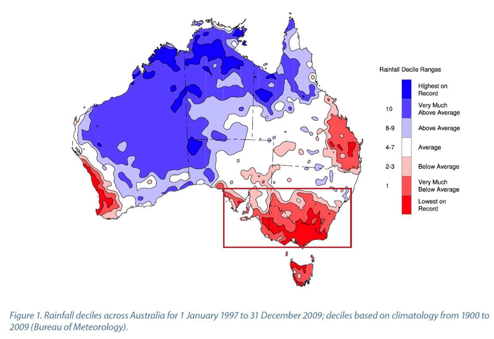 Map of Rainfall Deciles across Australia (1997-2009)