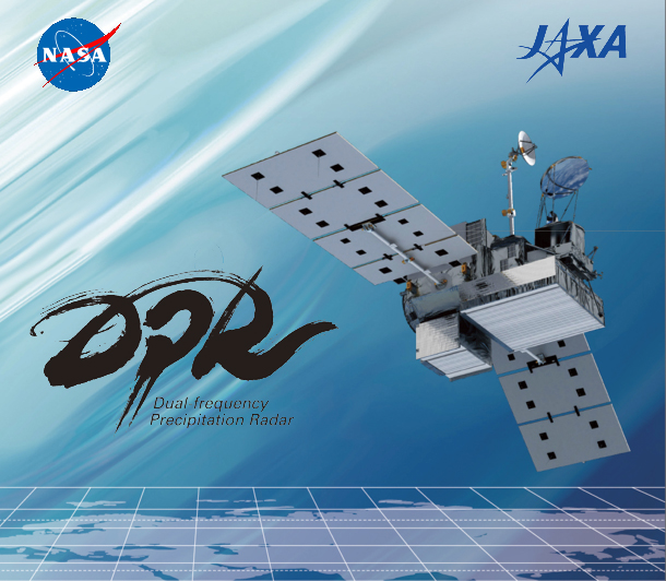 Image of GPM showing the DPR instrument, with NASA, JAXA, and DPR Logos