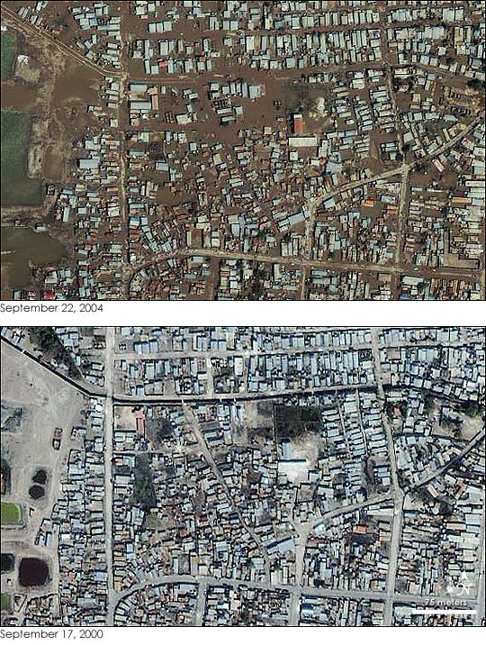 Flooding in Gonaives Haiti, before and after