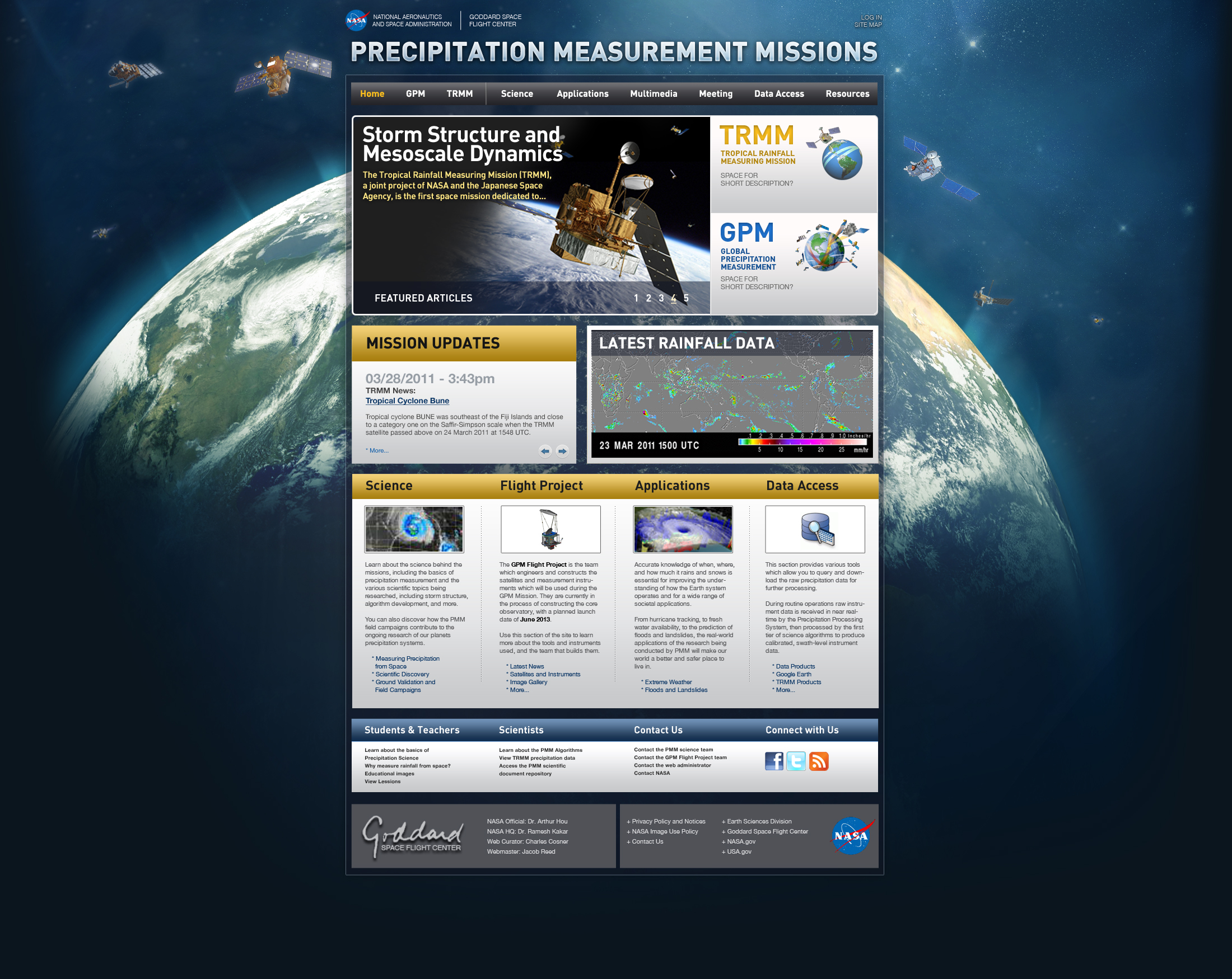 Front Page, Gold Theme, Dark Space Background   Precipitation