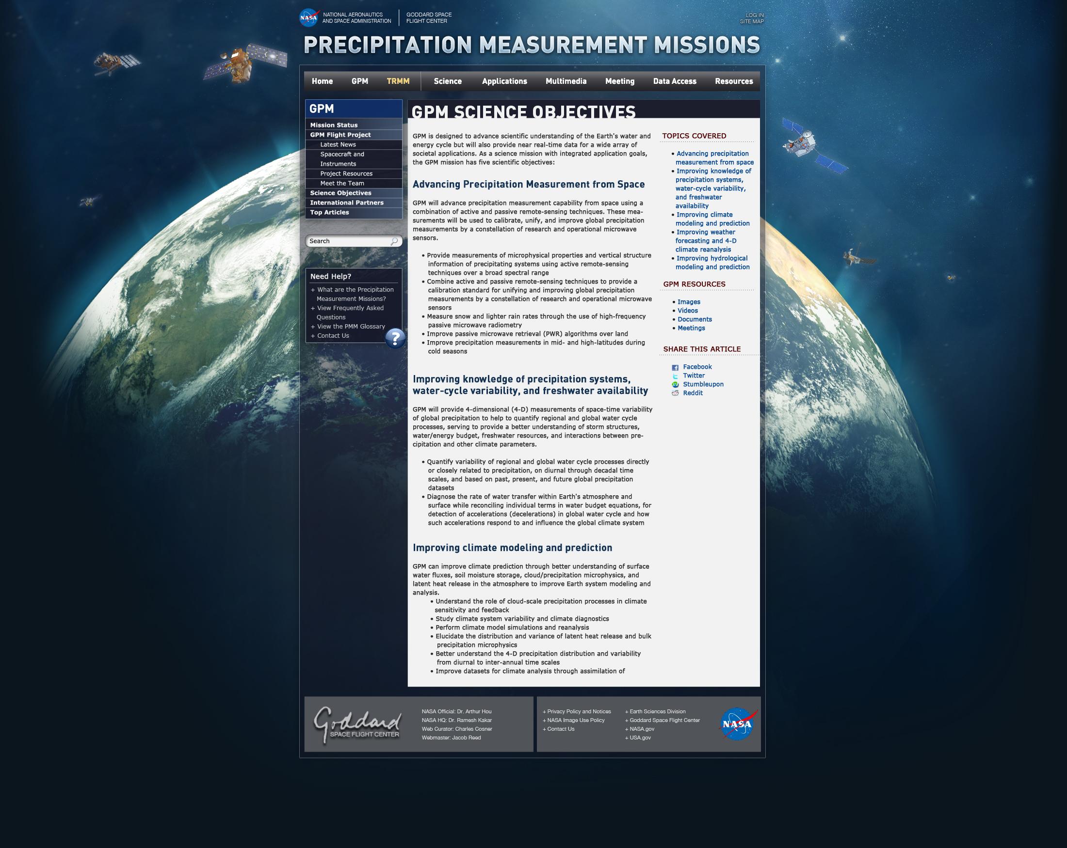 Inner Page, Dark Blue Theme | Precipitation Measurement Missions
