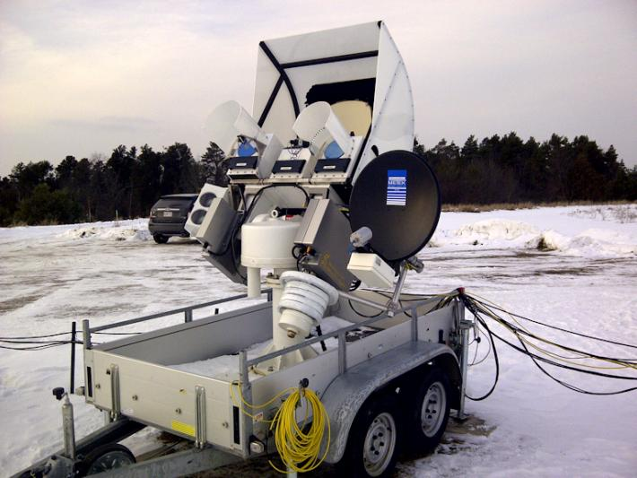 The University of Bonn ADMIRARI Radiometer deployed during the GPM Cold-season Precipitation Experiment in southern Ontario. The instrument measures microwaves that are naturally emitted from Earth's surface to determine water vapor and cloud and liquid water in the air column. Image Credit: NASA/Walt Petersen