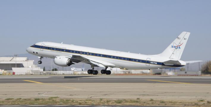 NASA's DC-8 aircraft taking off