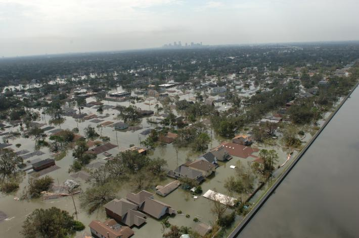Submerged houses in Louisiana due to extreme flooding caused by Hurricane Katrina