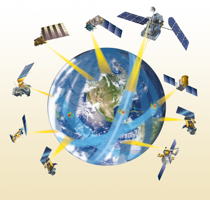 An illustration of the GPM satellite constellation orbitting earth and taking me