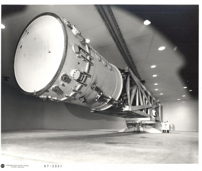 Black and white image of the high capacity centrifuge in the 1960's