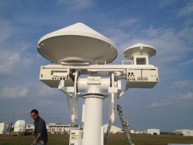 NASA's D3R radar at Wallops Flight Facility.  Shown, NASA engineer Manuel Vega