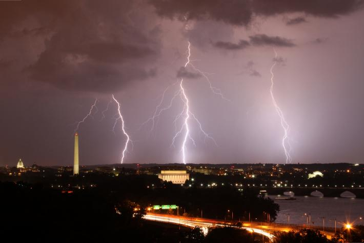 Three lightning bolts above Washington DC