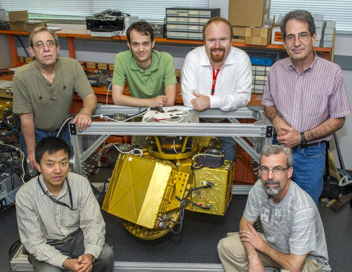 HIWRAP was developed by Goddard's High Altitude Radar Group. The team includes (left to right): Lihua Li, Gerry McIntire, Michael Coon, Matthew McLinden, Gerry Heymsfield and Martin Perrine. McLinden led the work on the Cloud Radar System and Li led the work on EXRAD. Image Credit: NASA Goddard/Bill Hrybyk