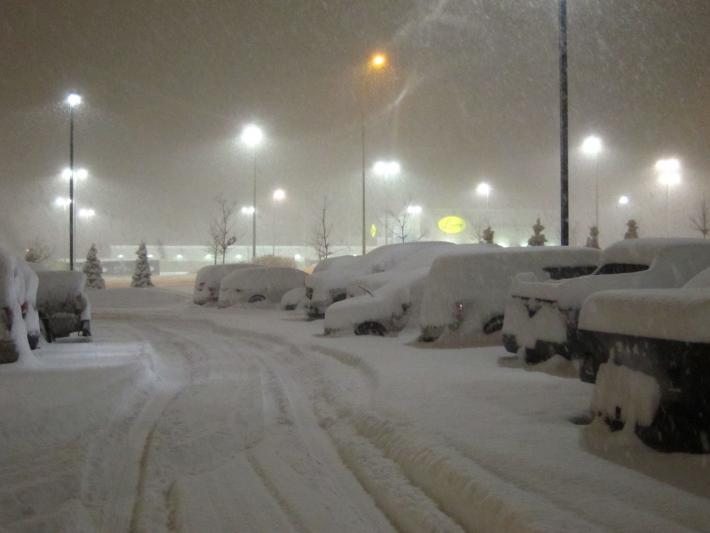 Snow covered cars at a parking lot at GCPex