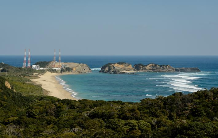 View of the launch site and beach at Tanegashima Space Center