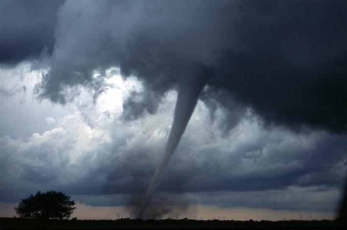 Tornado funnel in Oklahoma