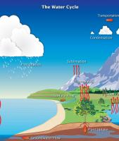 Diagram of the water cycle, showing evaporation, condesation, and precipitation