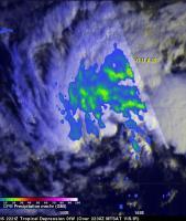 Two Satellites Measured Rainfall in Tropical Depression Mekkhala