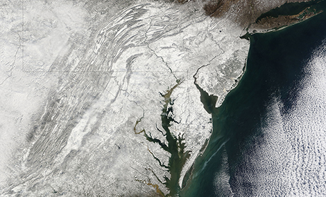 Earth Obervatory image of the 2010 blizzard over the East Coast of the US