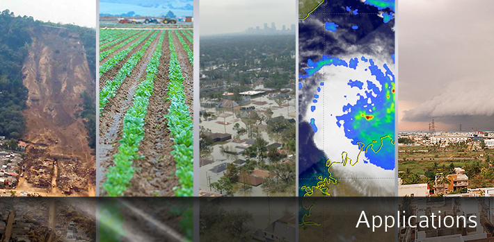 Banner image for applications, depicting a landslide, crops being grown, flooded houses in New Orleans, a TRMM radar map, and an approaching storm front.