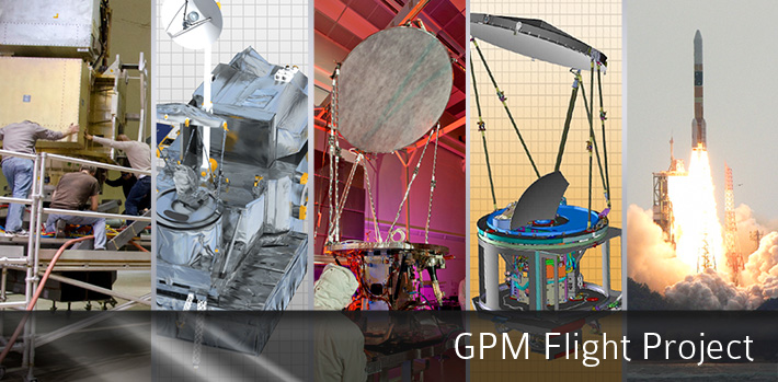 GPM Flight Project banner depicting (from left to right), GPM core being tested in the centrifuge, diagram of the GPM core, the GMI instrument being constructed in a lab, diagram of the GMI instrument, and the H-IIA rocket launching.