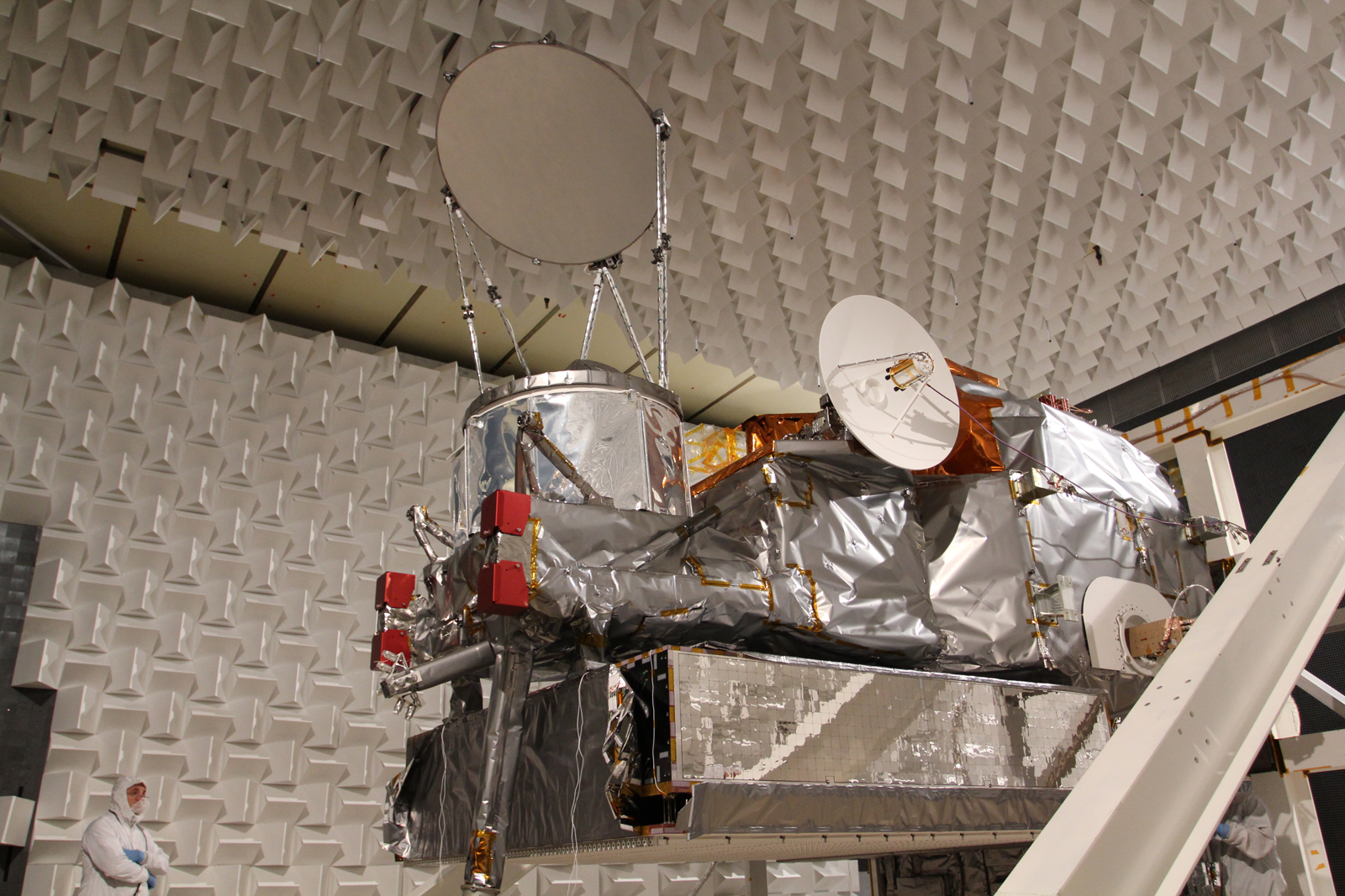 The GPM Core Observatory completed the EMI/EMC test at Goddard Space Flight Center in May 2013. The Observatory is now going through pre-vibration activities, including solar array deployments.