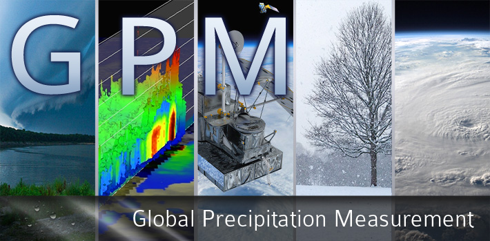 GPM: Global Precipitation Measurement Banner. 5 vertical panels depicting an approaching storm, TRMM 3D cloud measurements, the GPM core observatory, a tree with snowfall, and a hurricane as seen from space.