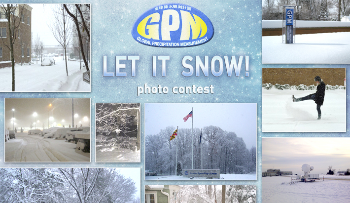 GPM Let it Snow Photo Contest banner, with examples of winter photographs