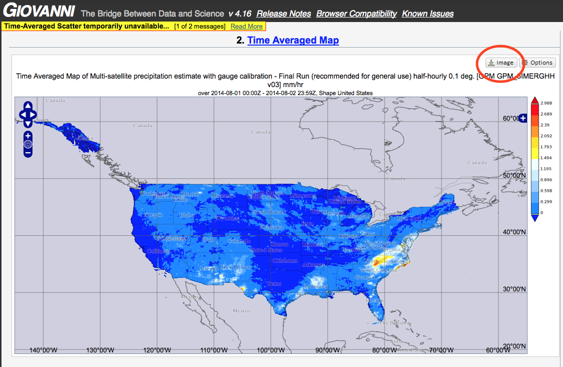 Figure 4. The resulting map showing IMERG data focused on the continental United States.