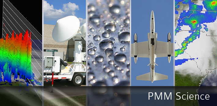 PMM science banner depicting TRMM 3D cloud measurements, the D3R radar, water droplets, a weather UAV plane from below, and TRMM radar data