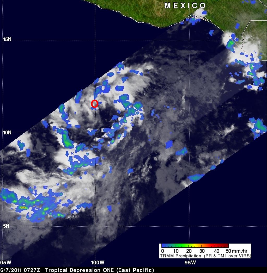 TRMM image of tropical depression ONE-E