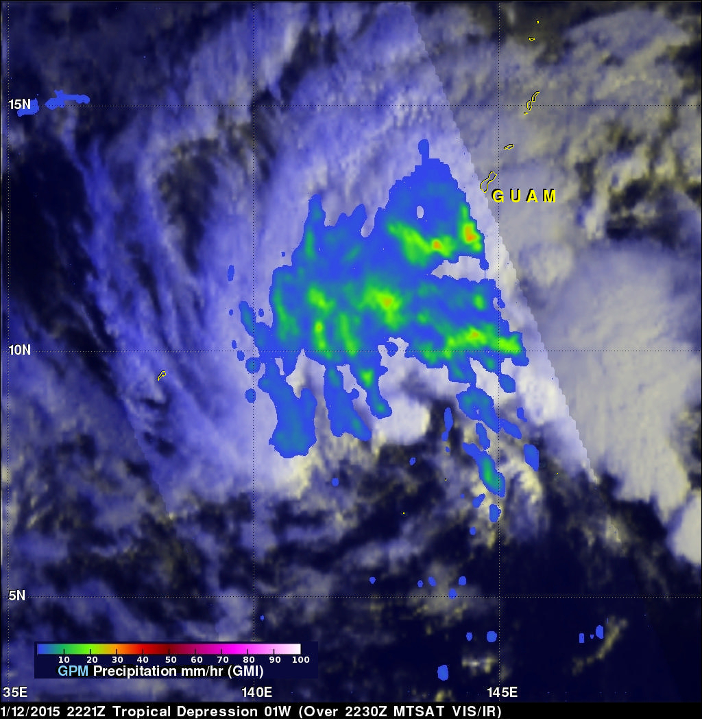 Two Satellites Measured Rainfall in Tropical Depression Mekkhala