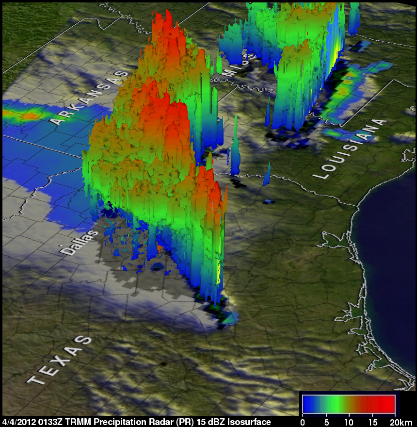 Texas Satellite Weather Map.Nasa S Trmm Satellite Sees Tornadic Texas Storms In 3 D