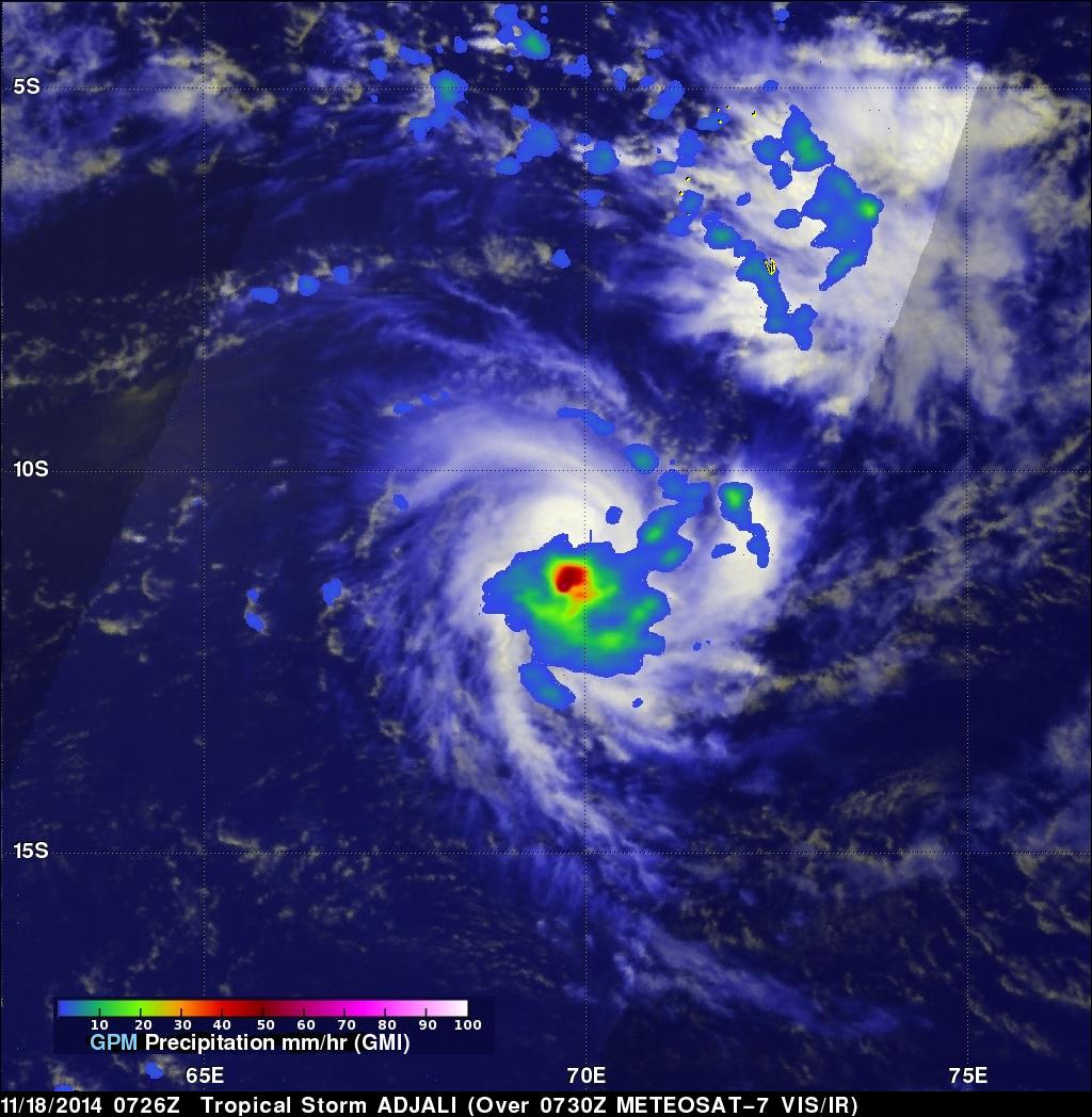 GPM Measures Rainfall In Tropical Storm Adjali